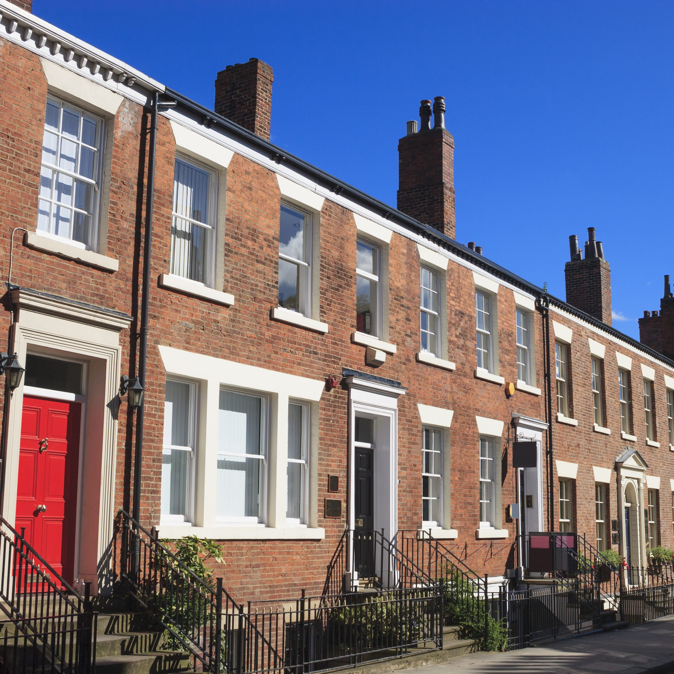 Row of Georgian terrace houses.