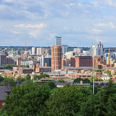 Aerial shot of Leeds Skyline
