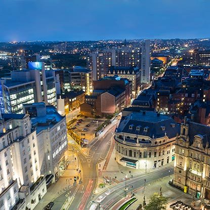 Aerial shot of Leeds at night